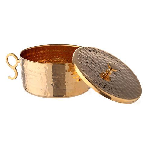 Pisside impilabile ottone dorato martellato 13 cm 3