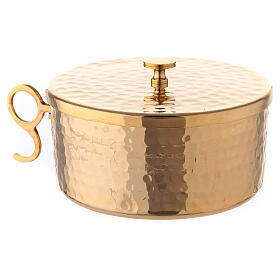 Hammered gold plated brass stackable ciborium 5 in s2