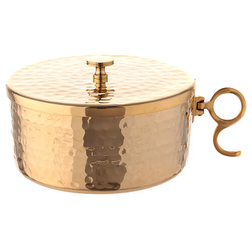Hammered gold plated brass stackable ciborium 5 in 1