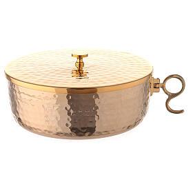 Stackable ciborium 6 3/4 in hammered brass s1