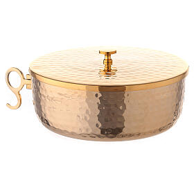 Stackable ciborium 6 3/4 in hammered brass s2