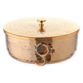 Stackable ciborium 6 3/4 in hammered brass s4