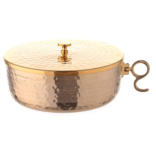 Stackable ciborium 6 3/4 in hammered brass 1