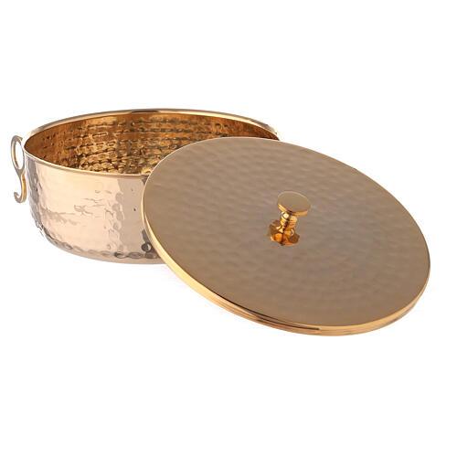 Stackable ciborium 6 3/4 in hammered brass 3