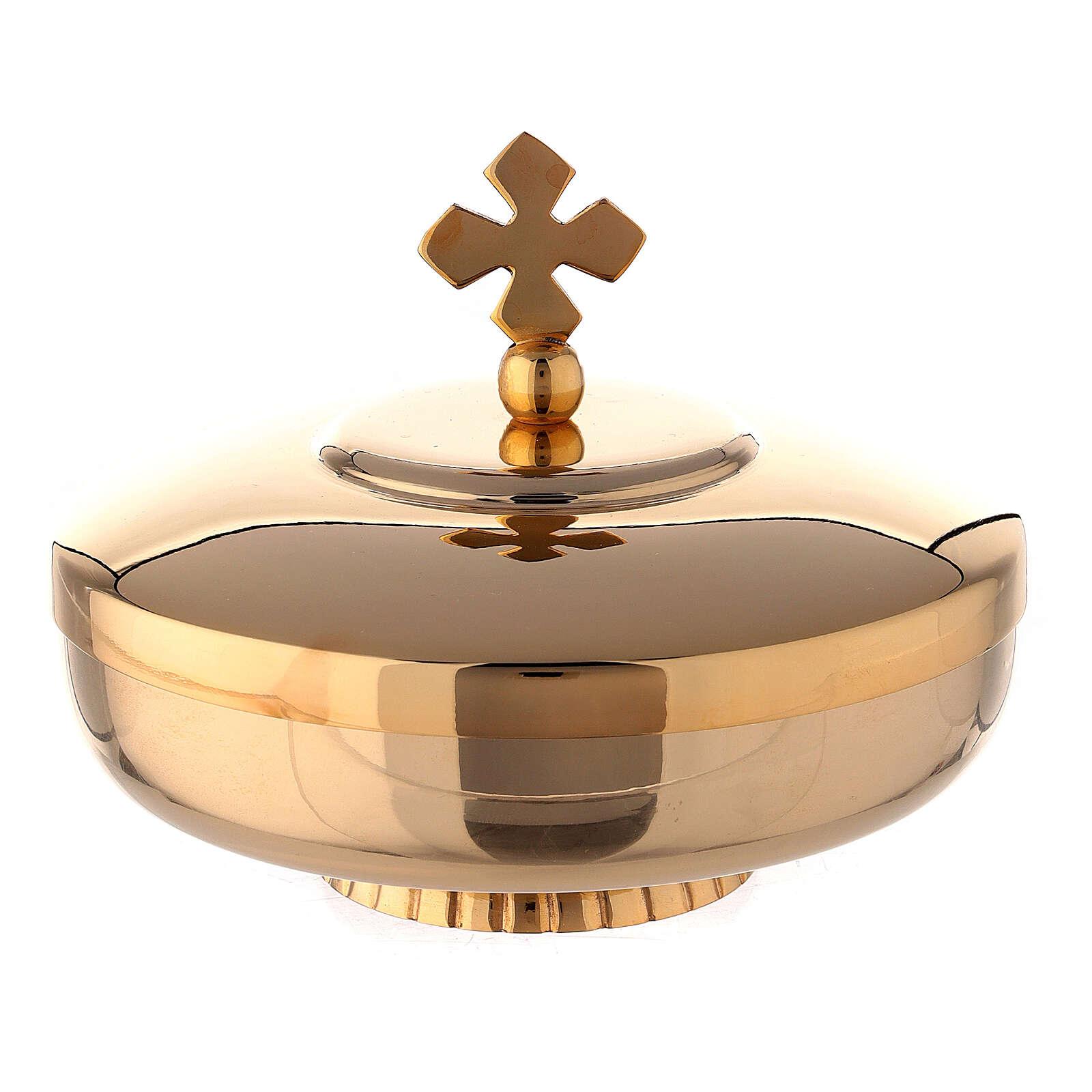Pisside coperchio ottone dorato 12 cm 4
