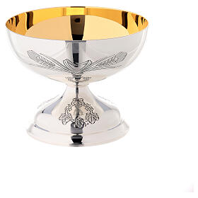 Offertory paten Molina silver-plated brass grape engraving s4