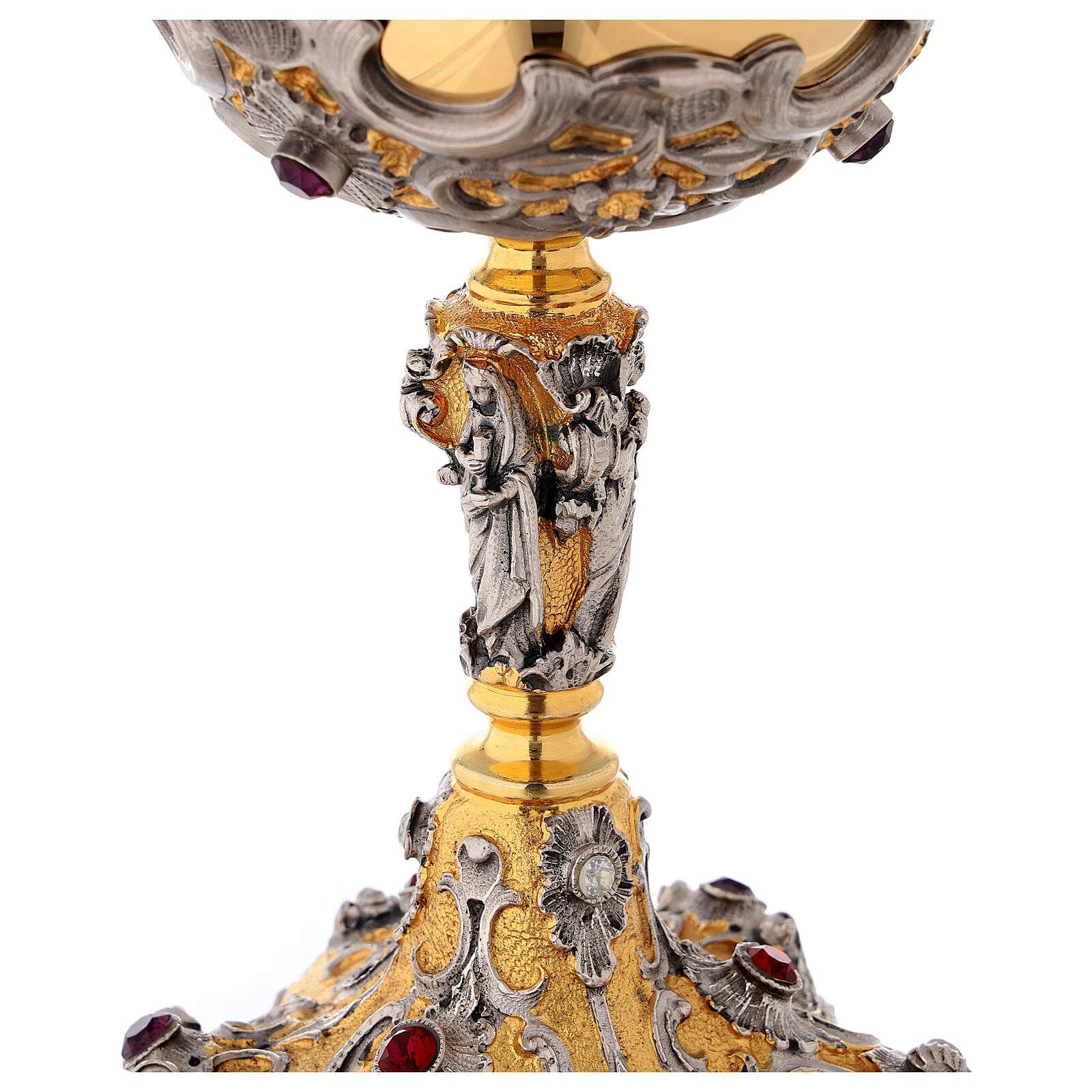 Ciboire en laiton bicolore h 23 cm décoré 4