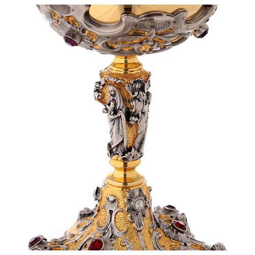 Ciboire en laiton bicolore h 23 cm décoré 3