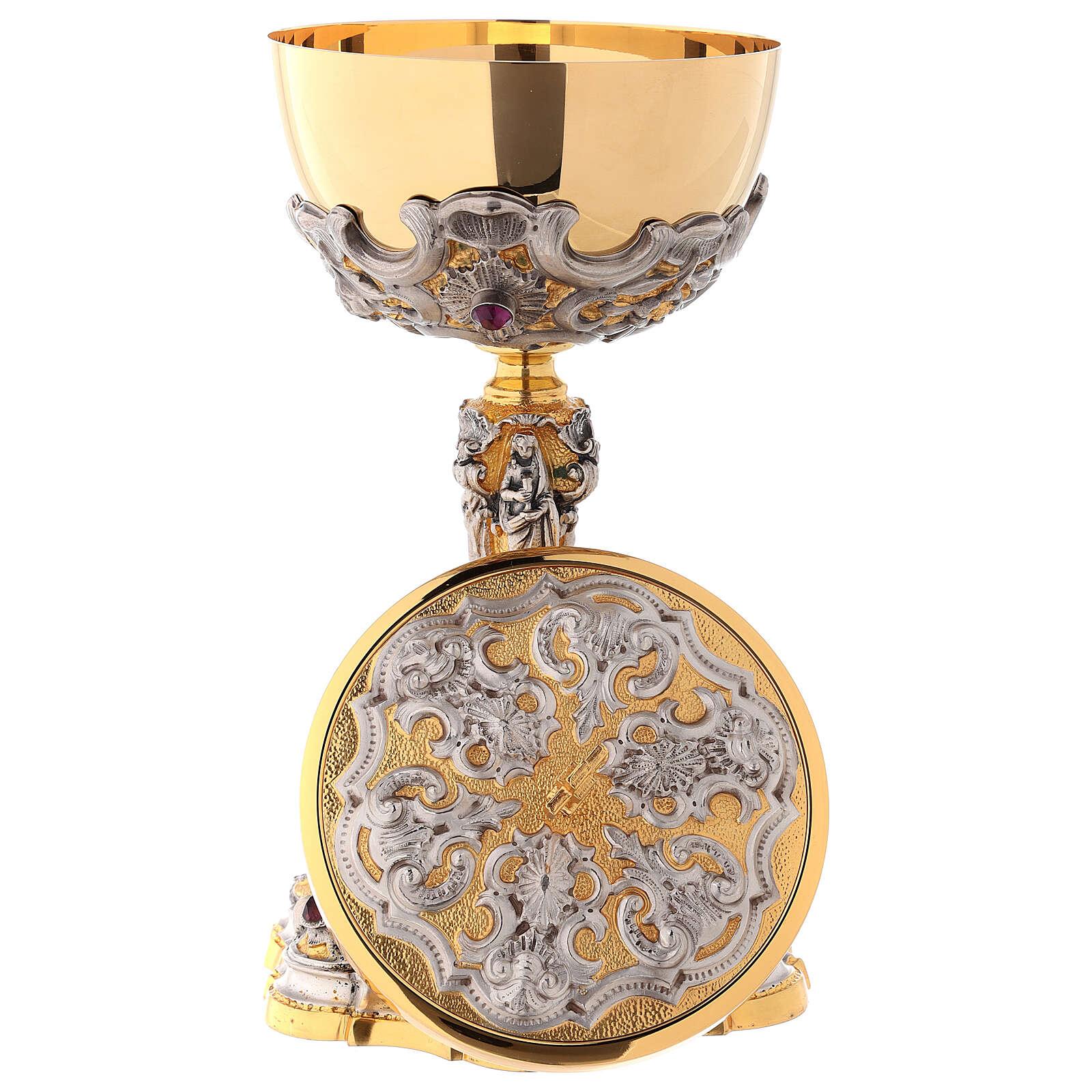 Ciborium in two-tone brass, 23 cm diameter decorated 4