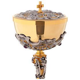 Ciborium in two-tone brass, 23 cm diameter decorated s2