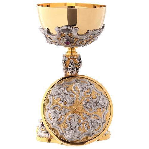 Ciborium in two-tone brass, 23 cm diameter decorated 8