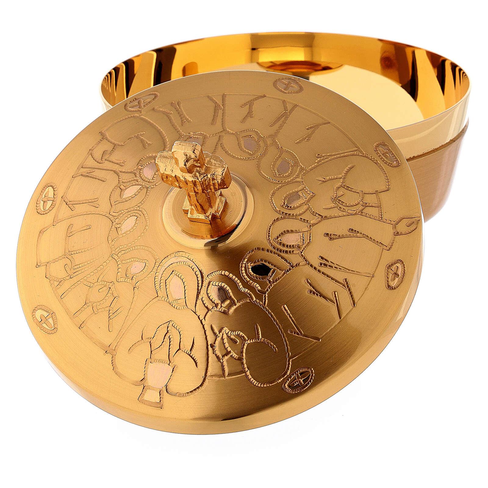 Copón de latón dorado última cena estilizada diám 10 cm 4