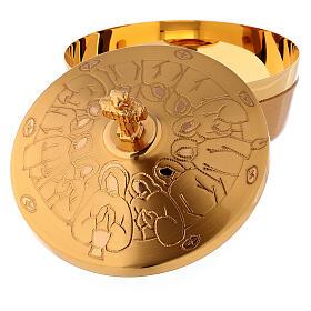 Pisside in ottone dorato ultima cena stilizzata diam 10 cm s4