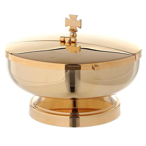 Ziborium inklusive Deckel mit Klappöffnung, aus Messing vergoldet 24 K, 14 cm im Durchmesser