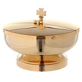Píxide latão dourado 24K com tampa diâmetro 14 cm s1