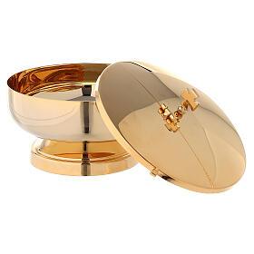 Píxide latão dourado 24K com tampa diâmetro 14 cm s4