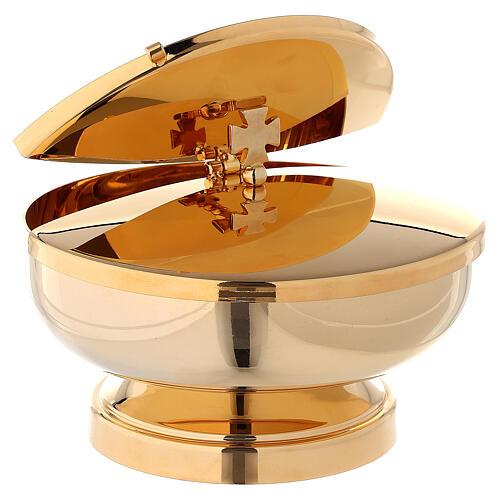 Píxide latão dourado 24K com tampa diâmetro 14 cm 3