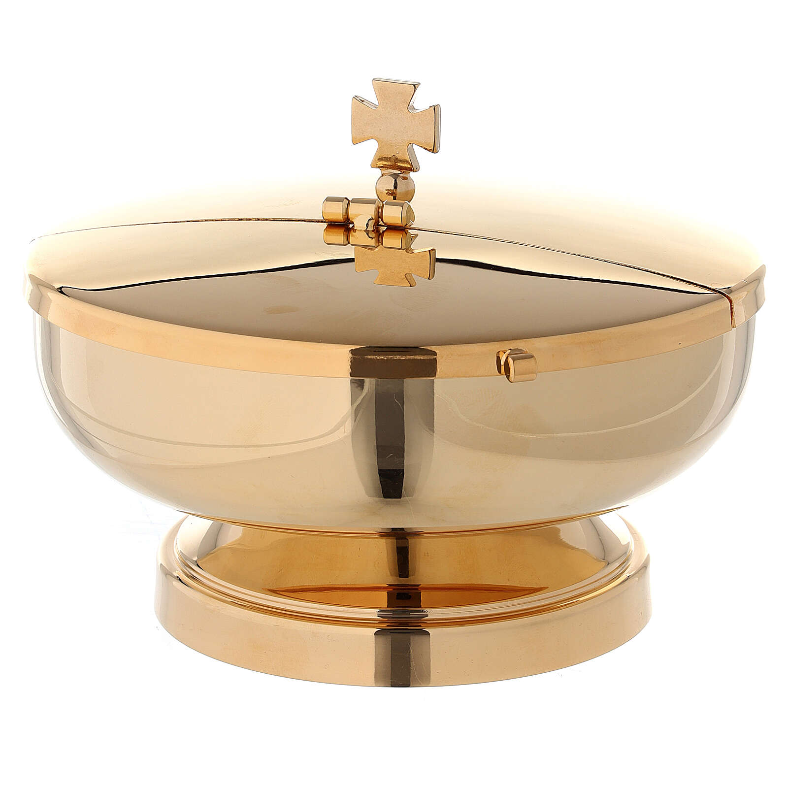 Ciborium in 24-karat gold plated brass with openable cover diam. 5 1/2 in 4
