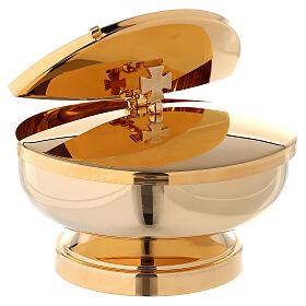 Ciborium in 24-karat gold plated brass with openable cover diam. 5 1/2 in s3