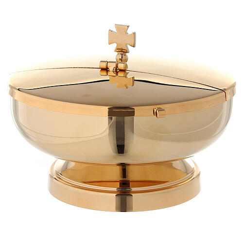 Ciborium in 24-karat gold plated brass with openable cover diam. 5 1/2 in 1