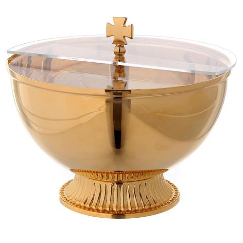 Ziborium aus Messing, 24 K vergoldet, mit Plexiglasdeckel