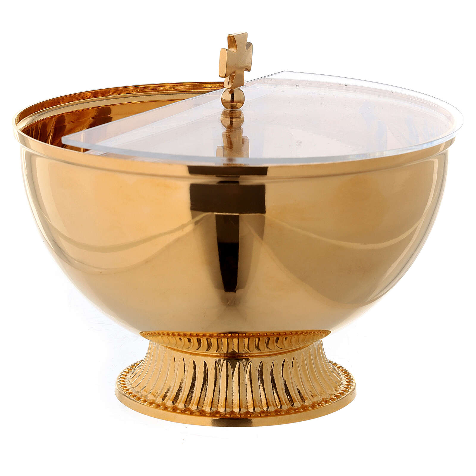 Ciborium with openable plexiglas cover in gold plated brass 4
