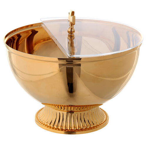 Ciborium with openable plexiglas cover in gold plated brass 2