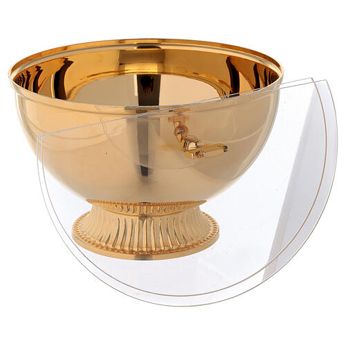 Ciborium with openable plexiglas cover in gold plated brass 3