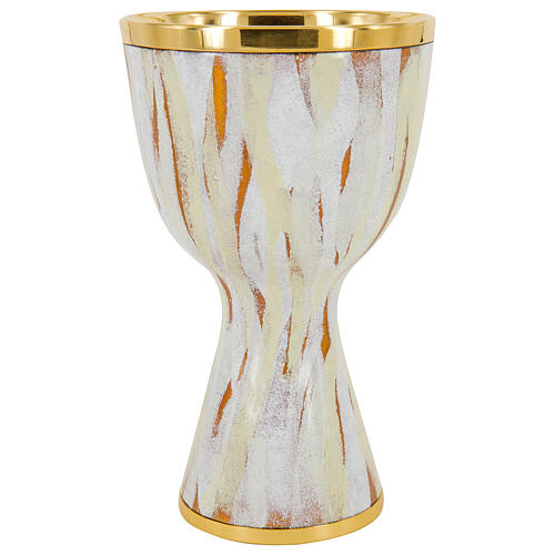 Chalice in white enamel with silver and golden brass cup, 18.5 cm 1