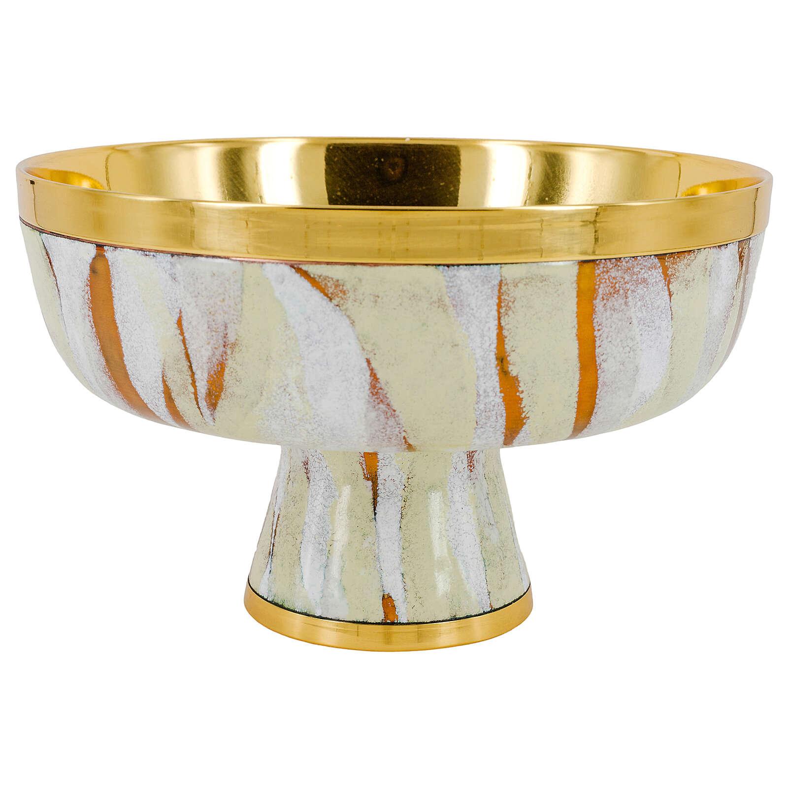 Pisside bassa smalto bianco coperchio croce ottone dorato 4