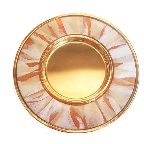 Patena ottone dorato smalto bianco oro 16 cm 1