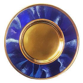 Patène laiton doré émail bleu 16 cm s1