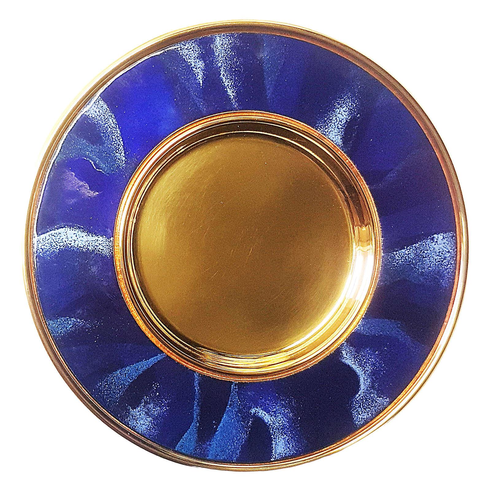 Blue enamelled paten gold plated brass 6 in 4