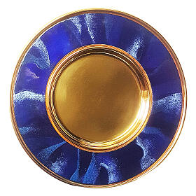 Blue enamelled paten gold plated brass 6 in s1