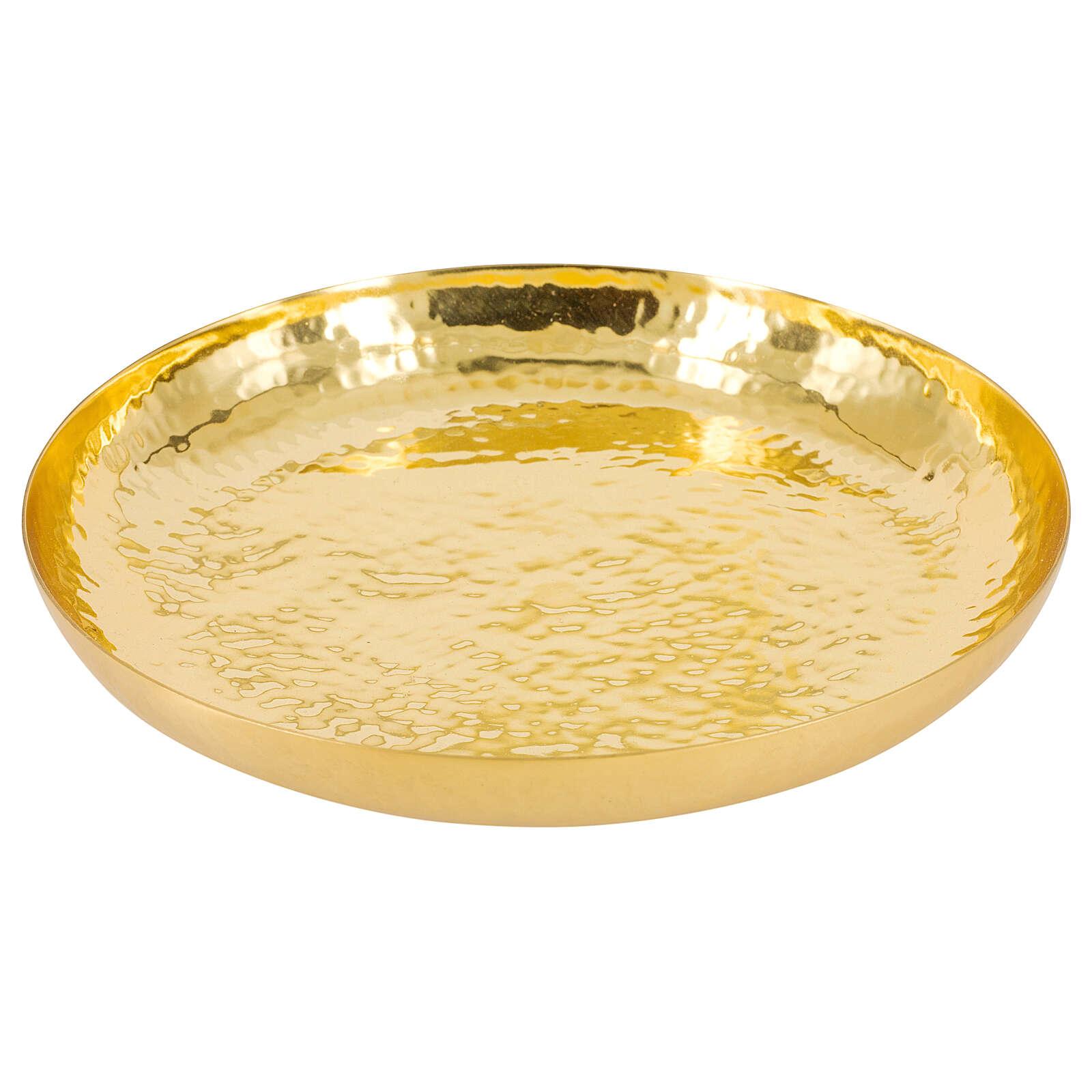 Patène laiton doré brillant martelé 16 cm 4