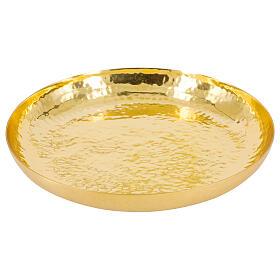 Patène laiton doré brillant martelé 16 cm s1