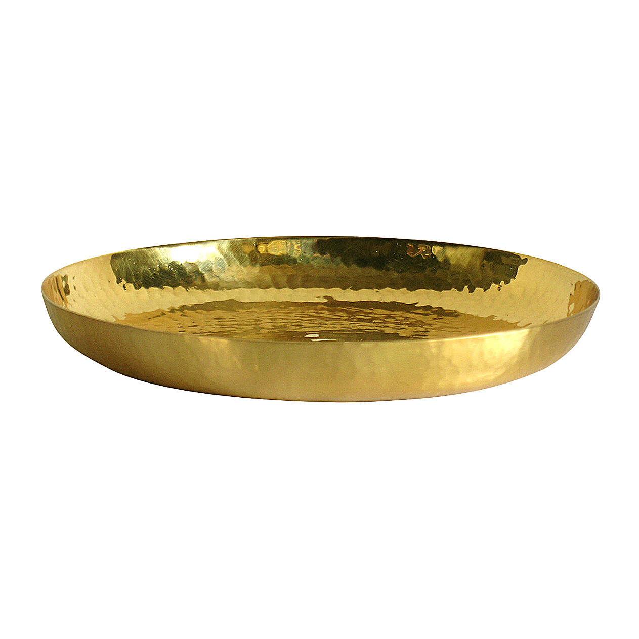 Paten in polished golden brass hammered 16 cm 4