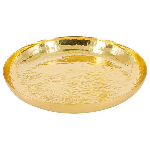 Paten in polished golden brass hammered 16 cm 1