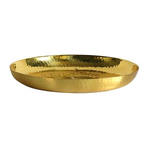Paten in polished golden brass hammered 16 cm 2