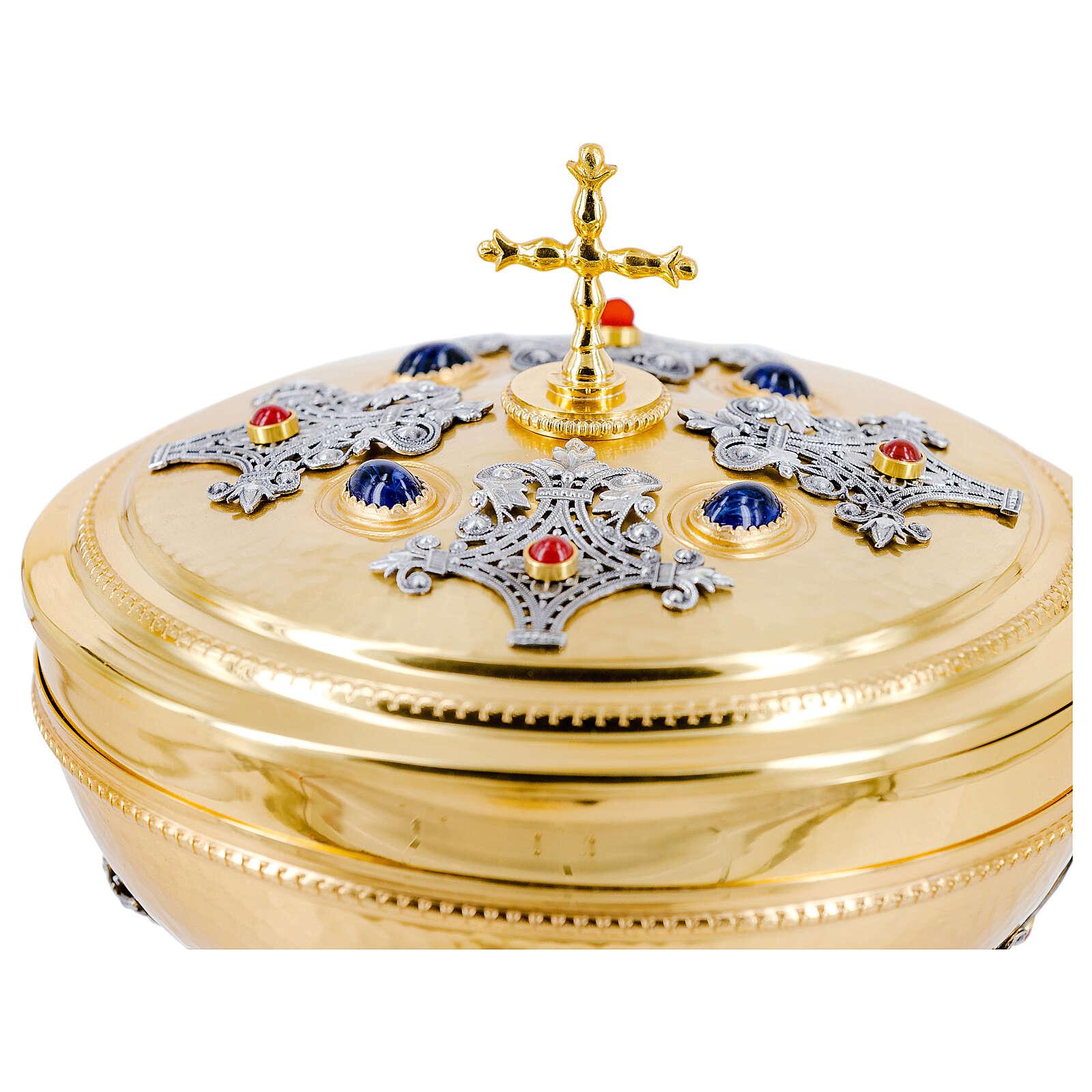 Bicolored ciborium blue node and filigree gold plated brass 4