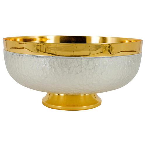 Calice pisside patena bicolore martellatura nodo lucido ottone dorato 5