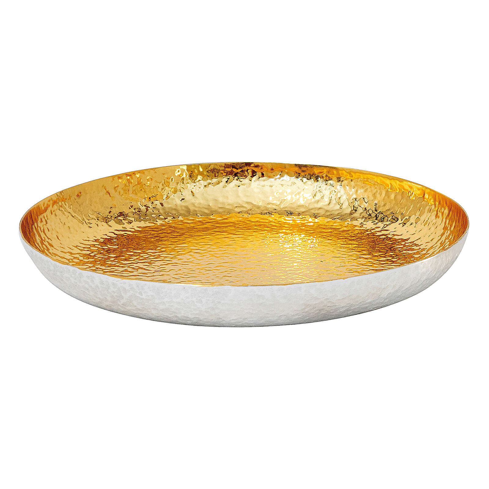Chalice ciborium and paten bicolored hammered brass polished node 4