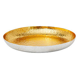 Chalice ciborium and paten bicolored hammered brass polished node s4