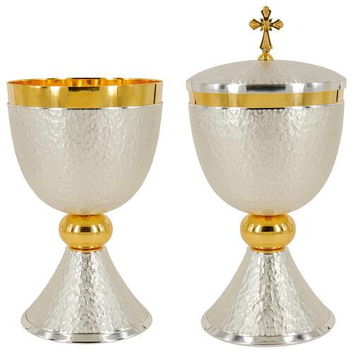 Chalice ciborium and paten bicolored hammered brass polished node 1