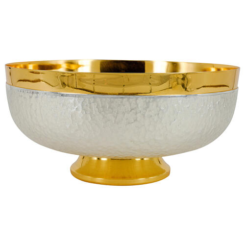 Chalice ciborium and paten bicolored hammered brass polished node 5
