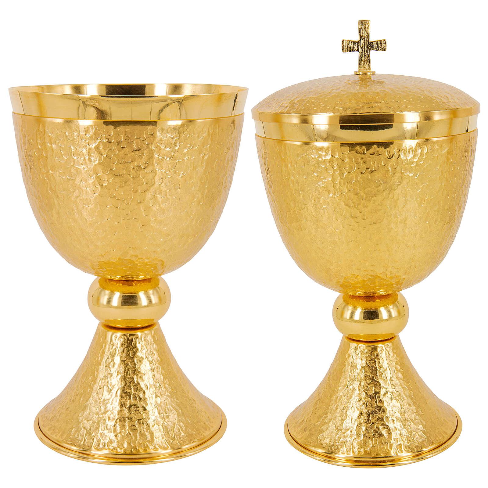 Chalice ciborium and paten 24-karat gold plated hammered brass 4