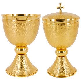 Chalice ciborium and paten 24-karat gold plated hammered brass s1