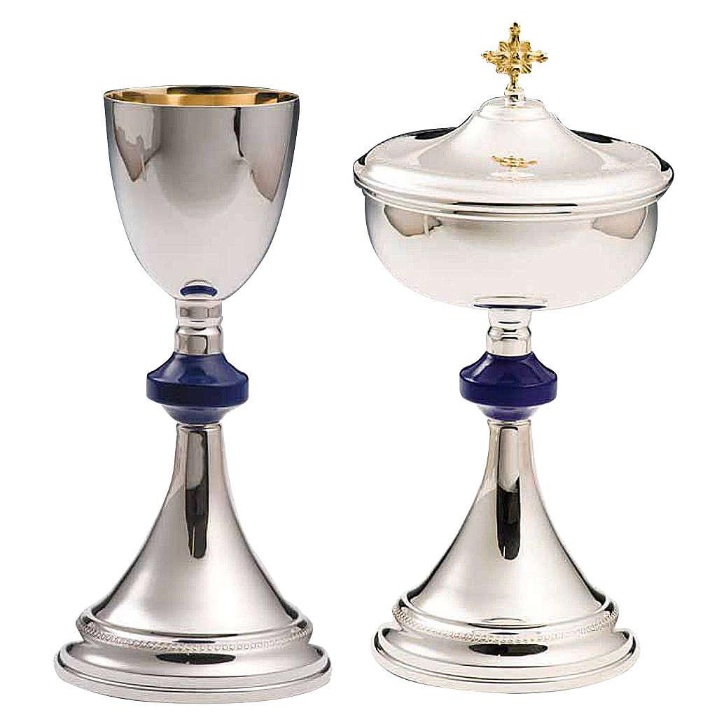 Calice et ciboire argent 800 lapis-lazulis mod. Flèche 4