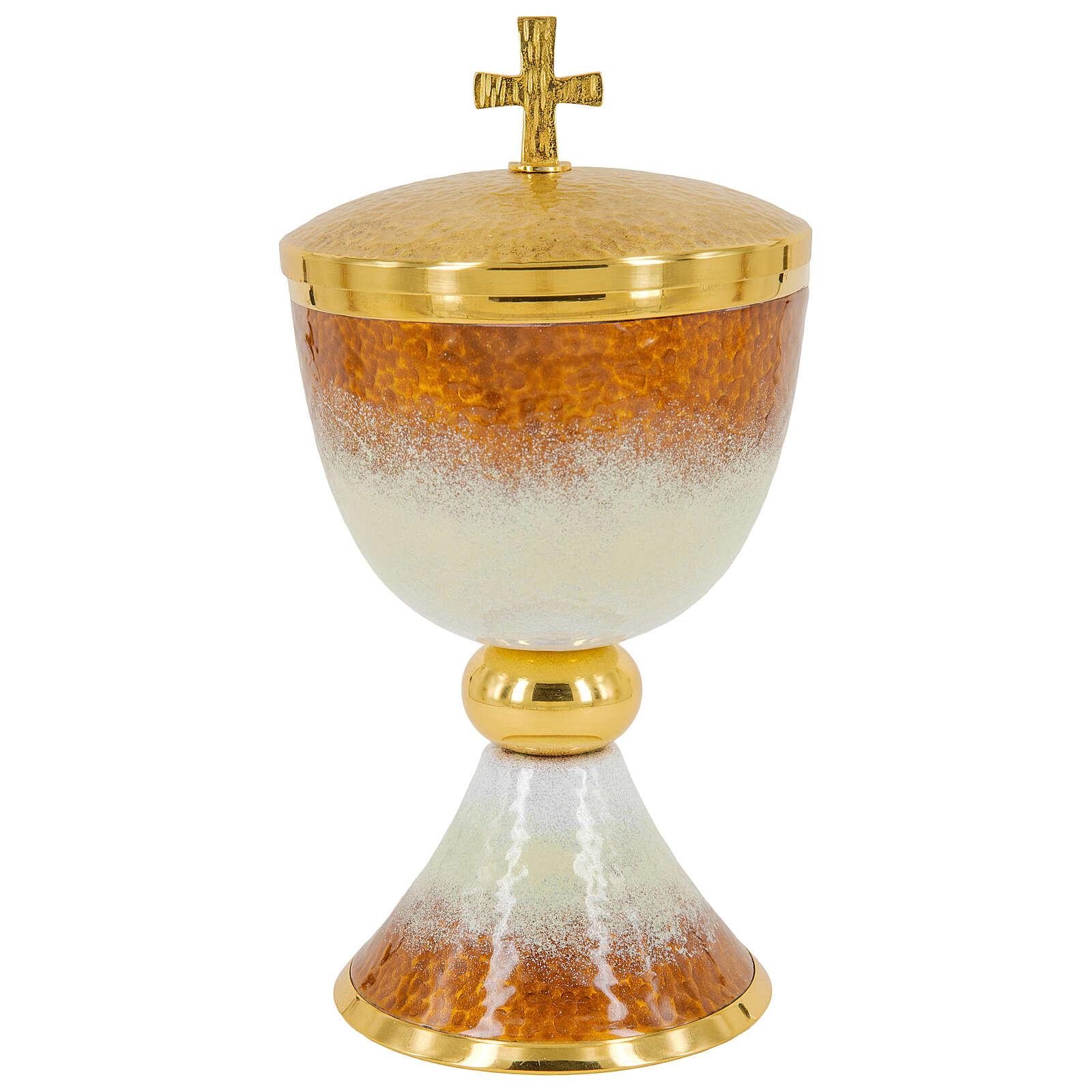 Calice pisside patena offertoriale ottone dorato smalto bianco arancio 4