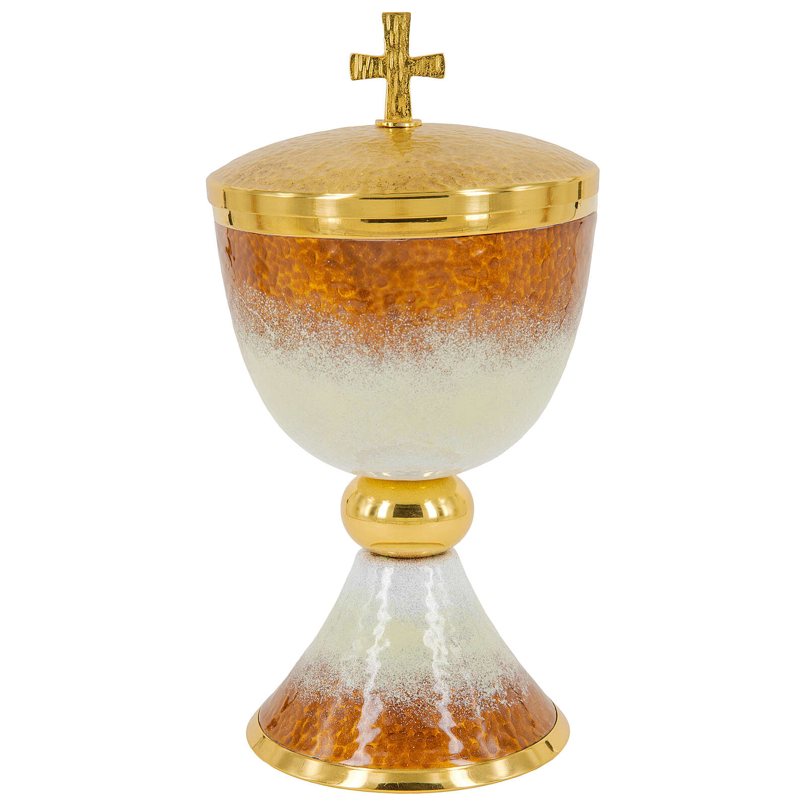 Gold plated brass chalice ciborium and paten with white and orange enamel 4